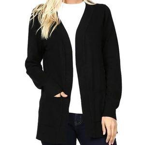 Long Sleeve Open Black Cardigan Sweater